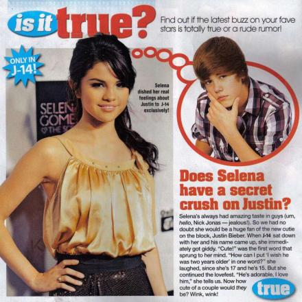 selena gomez and justin bieber pictures together. Selena Gomez has crush on